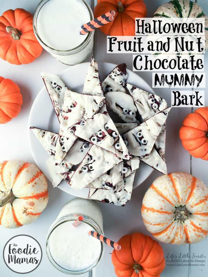 Fruit and nut chocolate mummy bark plus 4 more fun, family friendly Halloween treat recipes from The Foodie Mamas! Sure to make your Halloween party the best on the block!