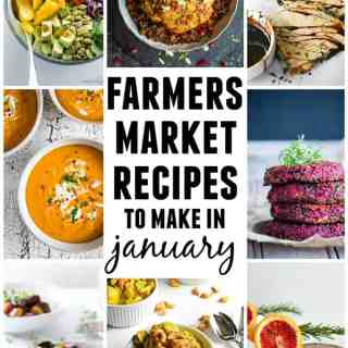 15 Farmers market recipes to make in January! Delicious, winter, (mostly) healthy recipes made with fresh, seasonal produce from your local farmers market or CSA bin. Eat local!