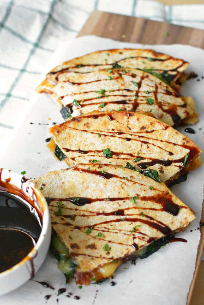 Sweet potato gouda quesadillas + 15 Farmers market recipes to make in January! Delicious, winter, (mostly) healthy recipes made with fresh, seasonal produce from your local farmers market or CSA bin. Eat local!