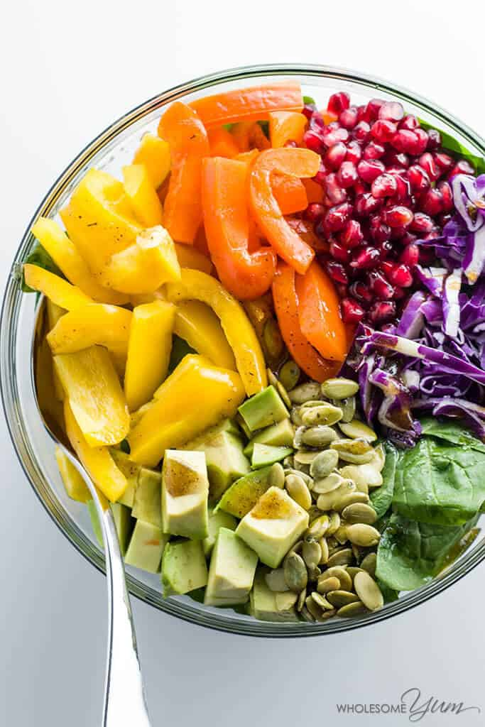 Rainbow power salad + 15 Farmers market recipes to make in January! Delicious, winter, (mostly) healthy recipes made with fresh, seasonal produce from your local farmers market or CSA bin. Eat local!