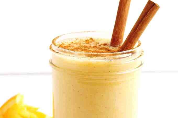 Yogurt orange smoothie with vanilla and cinnamon