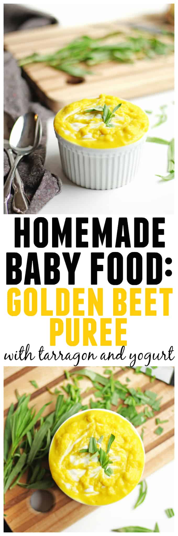 Golden beet puree with tarragon and yogurt! An easy and healthy homemade baby food recipe that is sure to please your little one. YUM! // Rhubarbarians