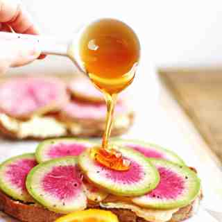 Watermelon radish toast with orange mascarpone and honey