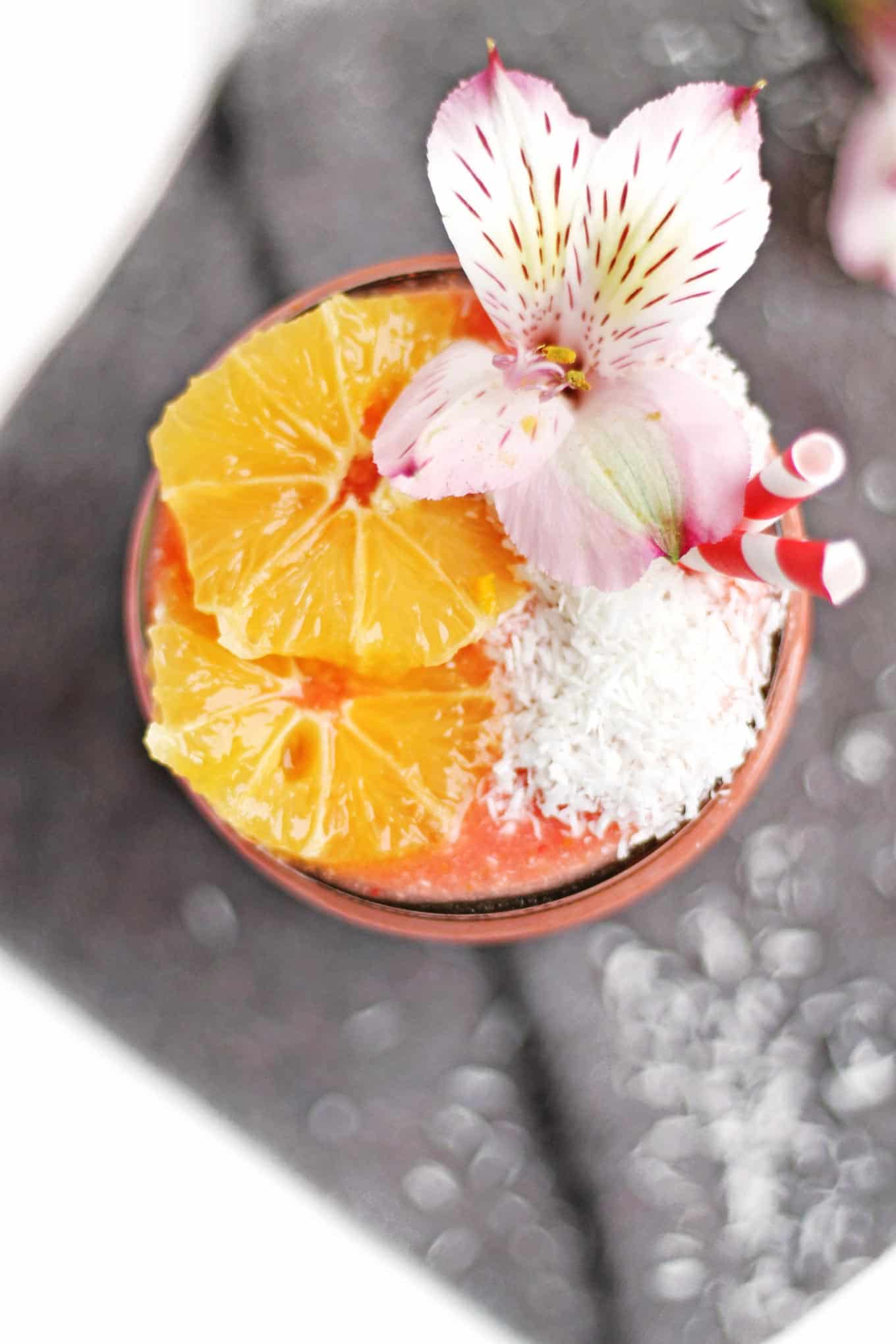 whole meyer lemon strawberry smoothie with coconut rhubarbarians