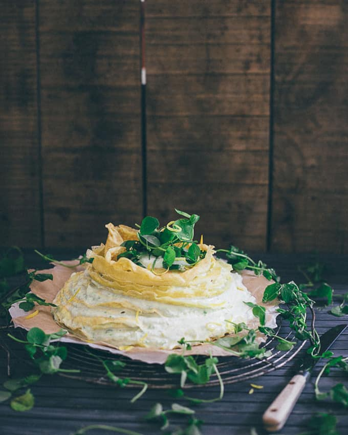 Sweet pea lemon crepe cake + 15 Farmers market recipes to make in April! Delicious, vegetarian, (mostly) healthy spring recipes made with fresh, seasonal produce from your local farmers market or CSA bin. Eat local! // Rhubarbarians