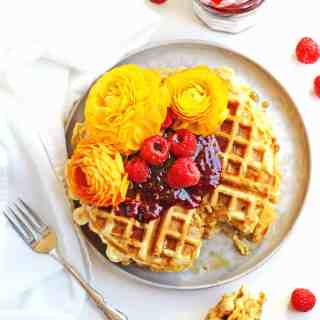 Cheesy green chile cornbread waffles with raspberry preserves recipe! An amazing, savory waffle with cheddar, walnuts, and green chiles. YUM! // Rhubarbarians // Mother's day breakfast / Mother's day brunch / brunch recipe / breakfast recipe