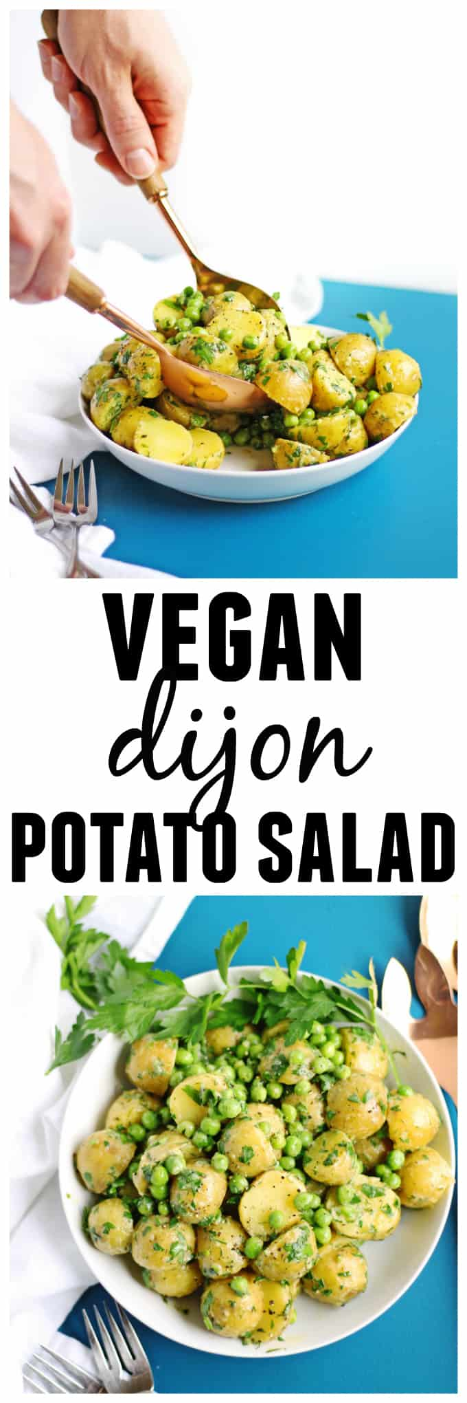 Vegan dijon potato salad recipe! Loaded with spring peas and herbs. Quick, easy, and perfect for your next side dish! // Rhubarbarians / vegan side / vegan bbq / vegan barbecue / summer side dish / spring side dish