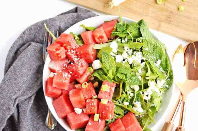 Spicy watermelon arugula salad