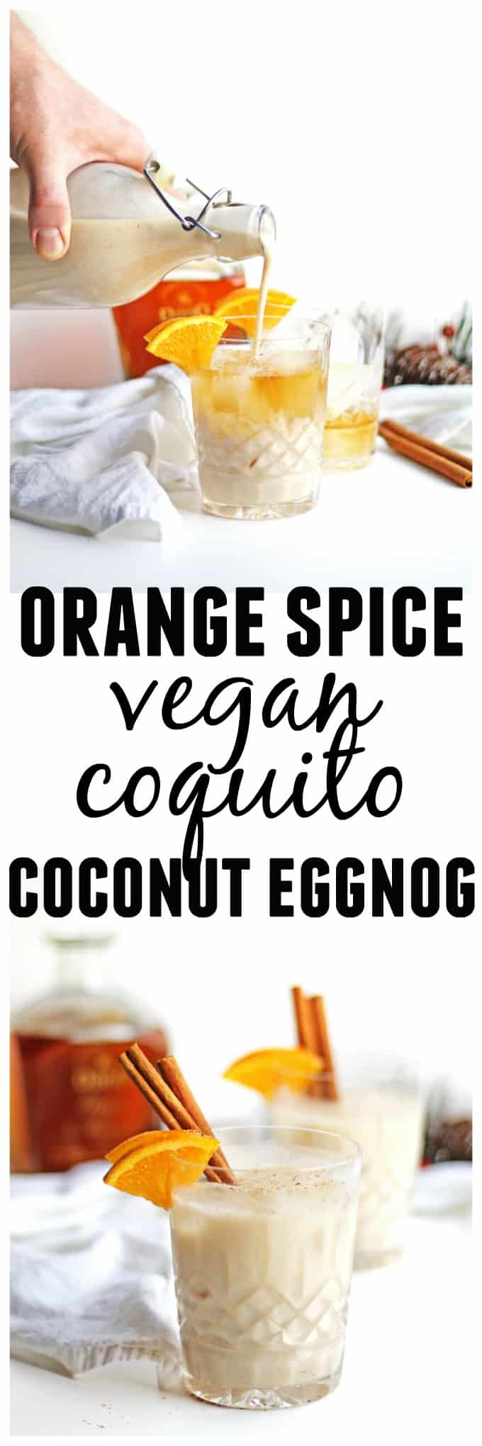 Orange spice vegan coquito recipe! Dairy free and egg free way to enjoy Puerto Rican eggnog. // Rhubarbarians // coconut eggnog / vegan eggnog / holiday drinks / christmas cocktail / holiday cocktail / #christmas #christmascocktail #holidaycocktail #eggnog #coquito #vegan