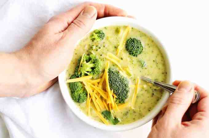 Secret ingredient healthy broccoli cheddar soup