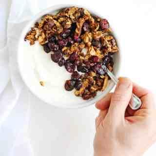 Cranberry dark chocolate coconut granola