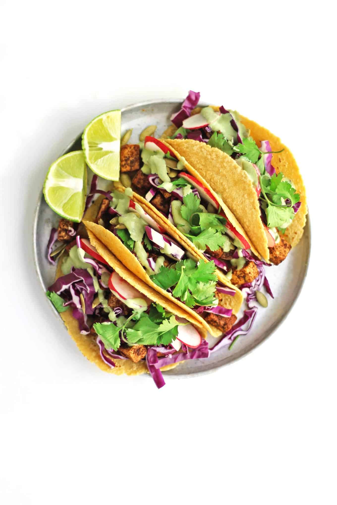 Loaded vegan tofu tacos recipe! // Rhubarbarians