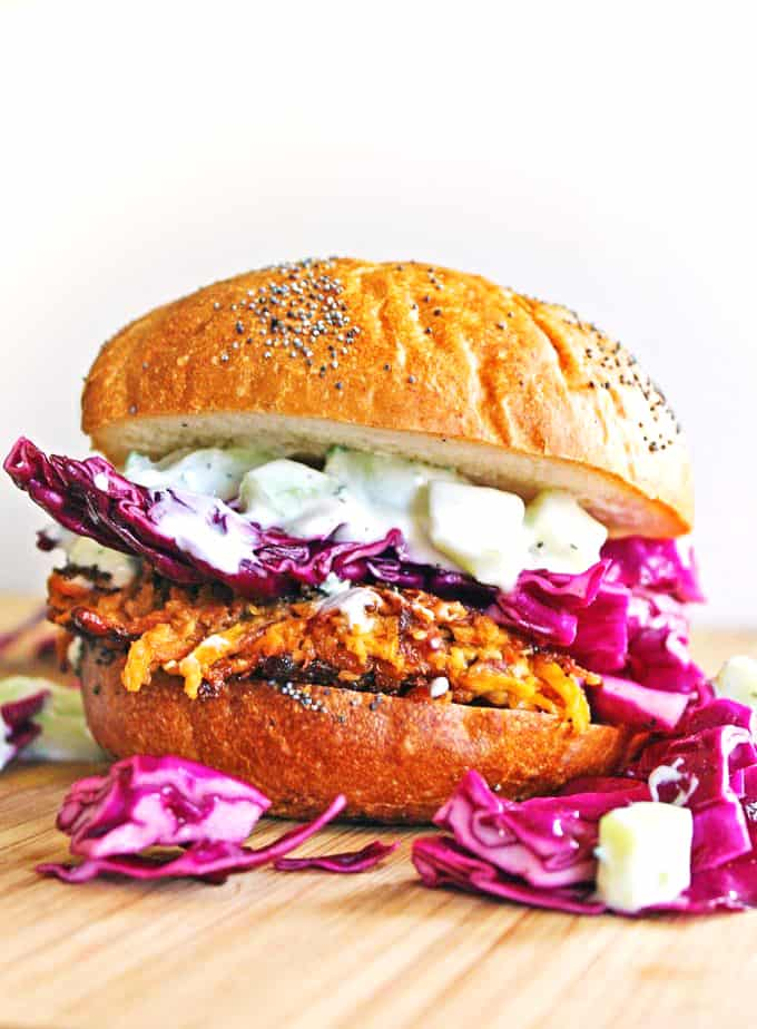 Carrot Tahini Quinoa Burgers with Tzatziki | Wholesome Quinoa Recipes