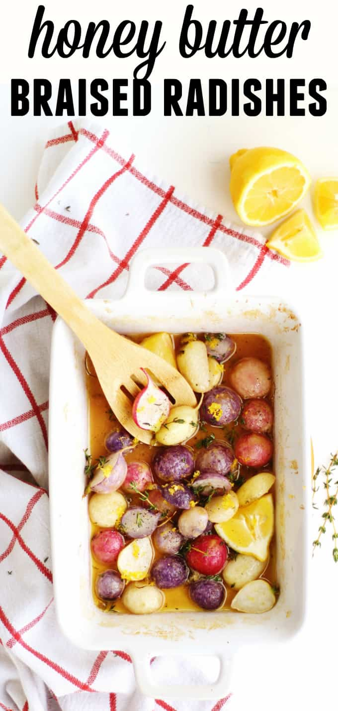 Easy and delicious roasted radishes recipe! These spring veggies are oven braised in honey butter, then topped with lemon zest and fresh thyme. The perfect spring vegetarian side dish! // Rhubarbarians