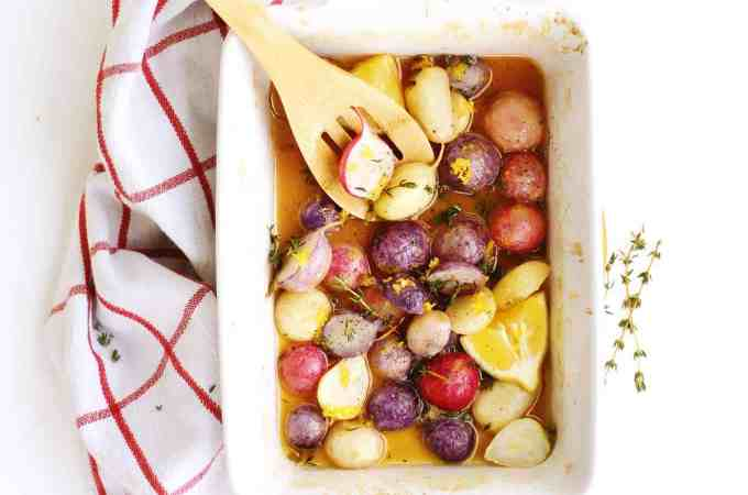 Honey butter roasted radishes with lemon and thyme