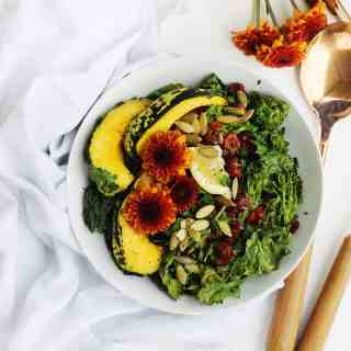 30-minute roasted squash salad with broccoli rabe and kale recipe! A warm, vegan salad perfect for a healthy weeknight dinner or meatless monday. // Rhubarbarians // vegetarian salad / dairy free dinner / gluten free meal / #roastedsquash #meatlessmonday #vegandinner #healthysalad #rhubarbarians #glutenfree