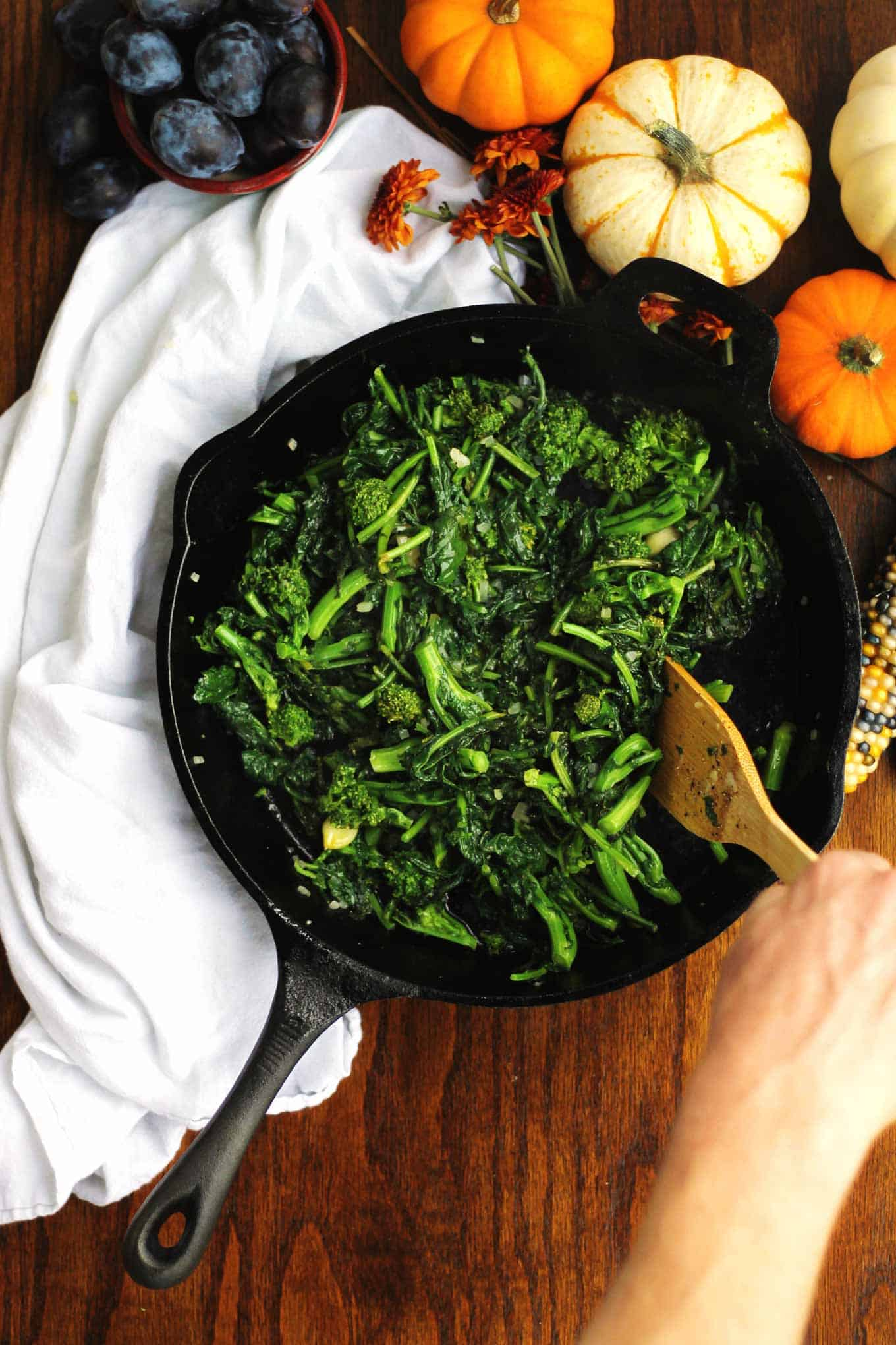 sauteed broccoli rabe and kale