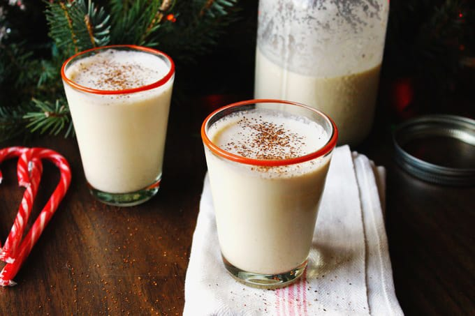 a glass of the best eggnog. best eggnog recipe