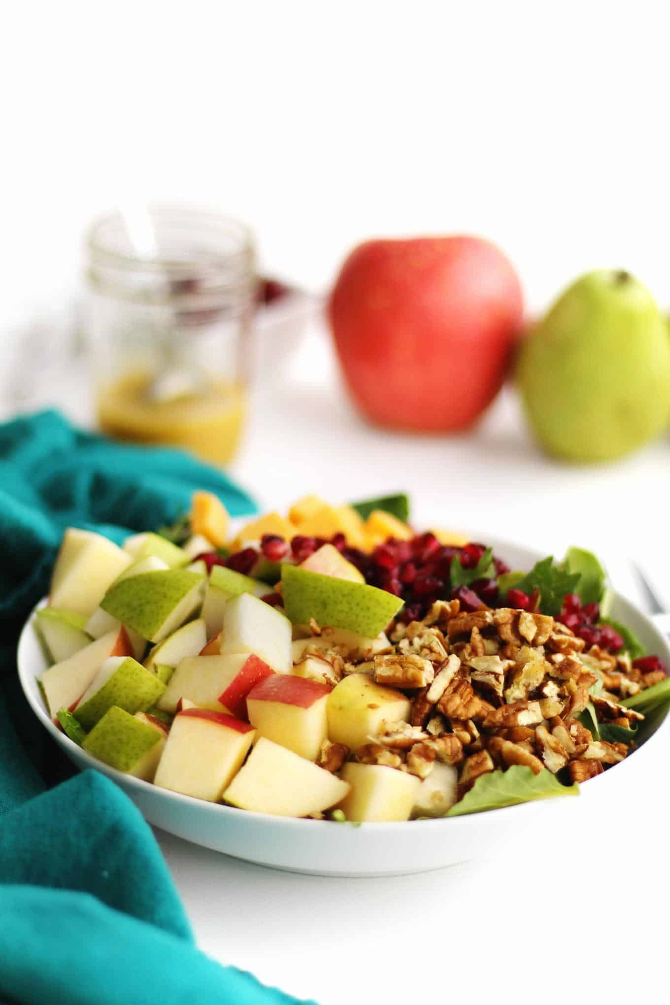pear and apple spinach salad