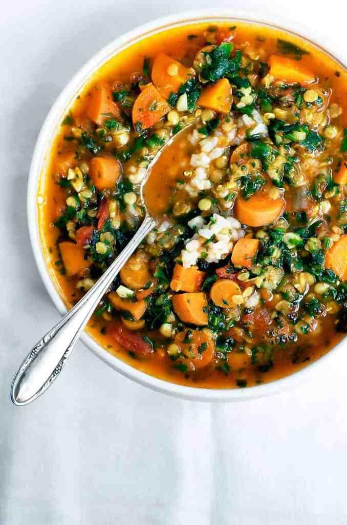 lentil soup + easy weeknight vegetarian dinners