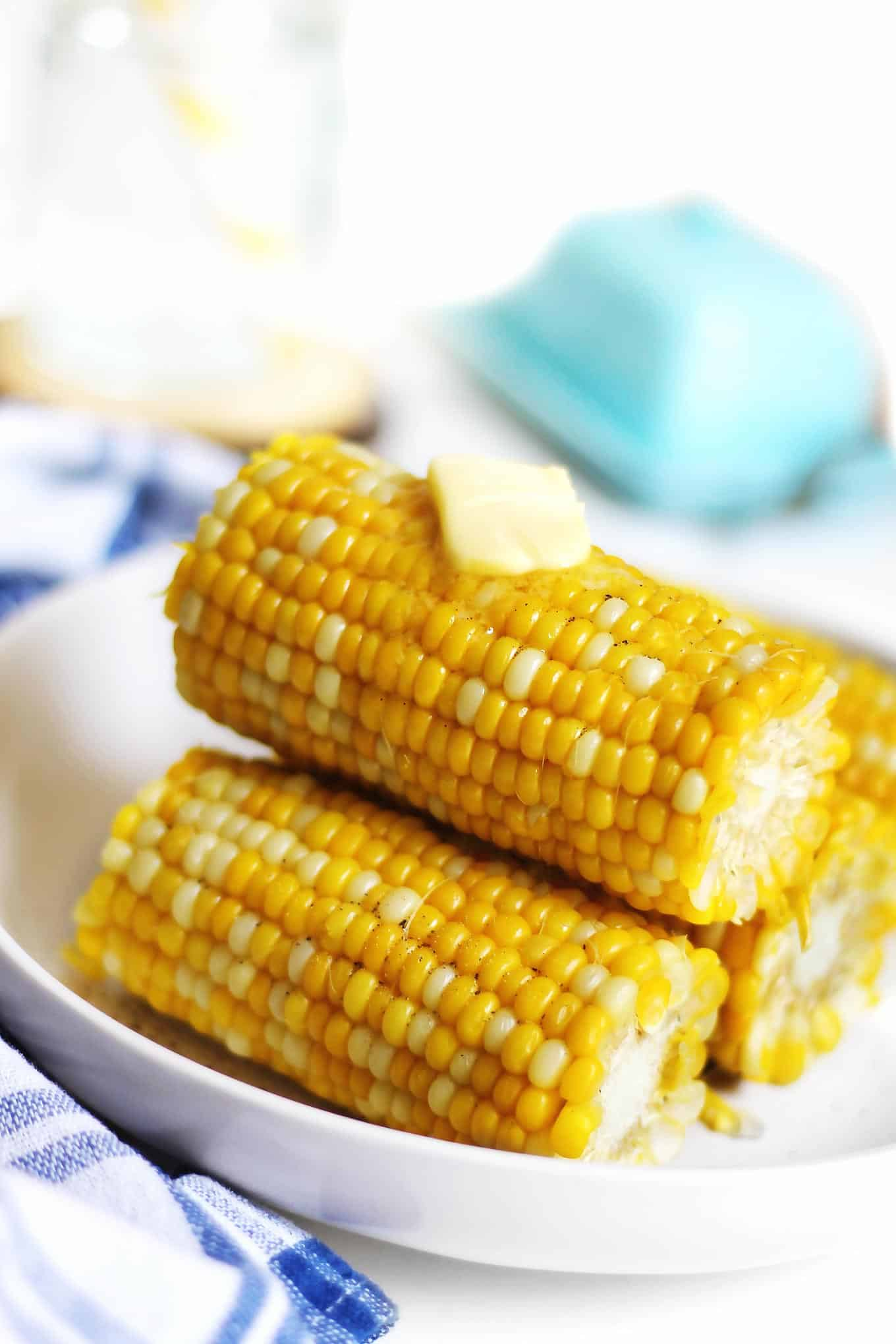Corn on the cob stack with butter