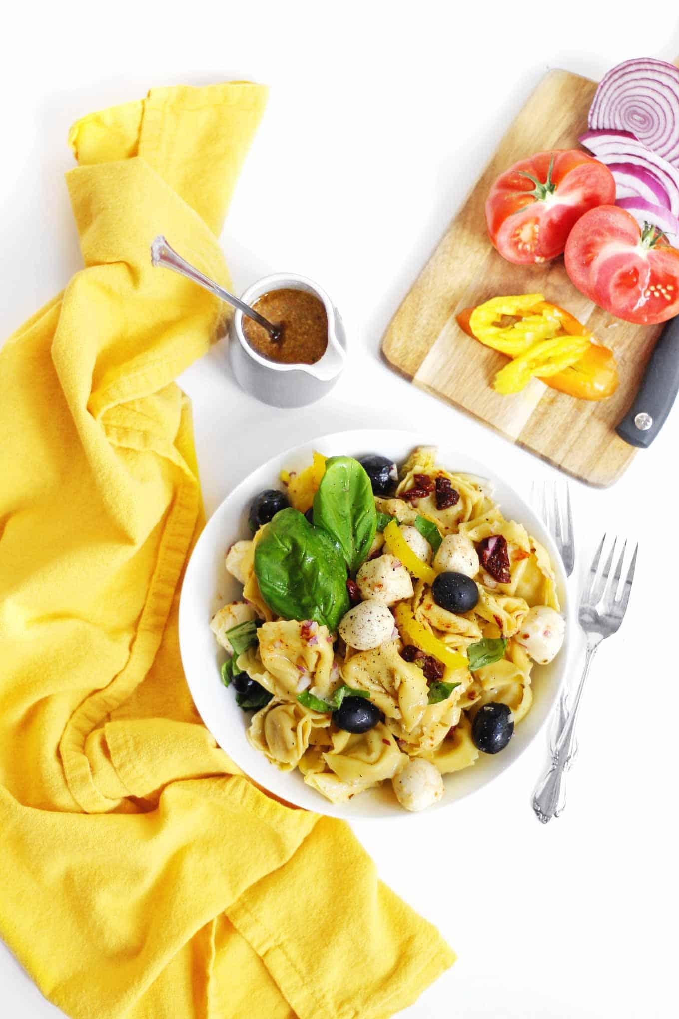 tortellini pasta salad flatlay