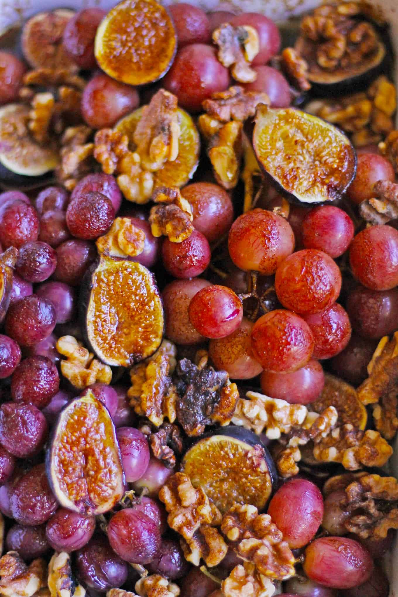 roasted grapes roasted figs walnuts