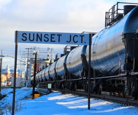 Crude oil headed west through Spokane last winter.