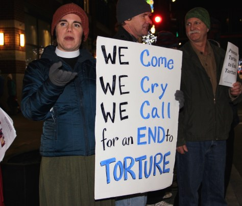 Spokane pastor Rev. Liv Larson Andrews at a protest following the release of a Senate report in mid-December documenting CIA torture and cover-ups.