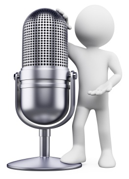 3d white person leaning on a vintage microphone. 3d image. Isolated white background.