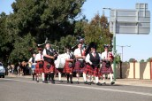 Wagga and District Highland Pipe Band marching in the Street Parade