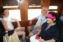 Enjoying the ride aboard the Tin Hare Rail Motor