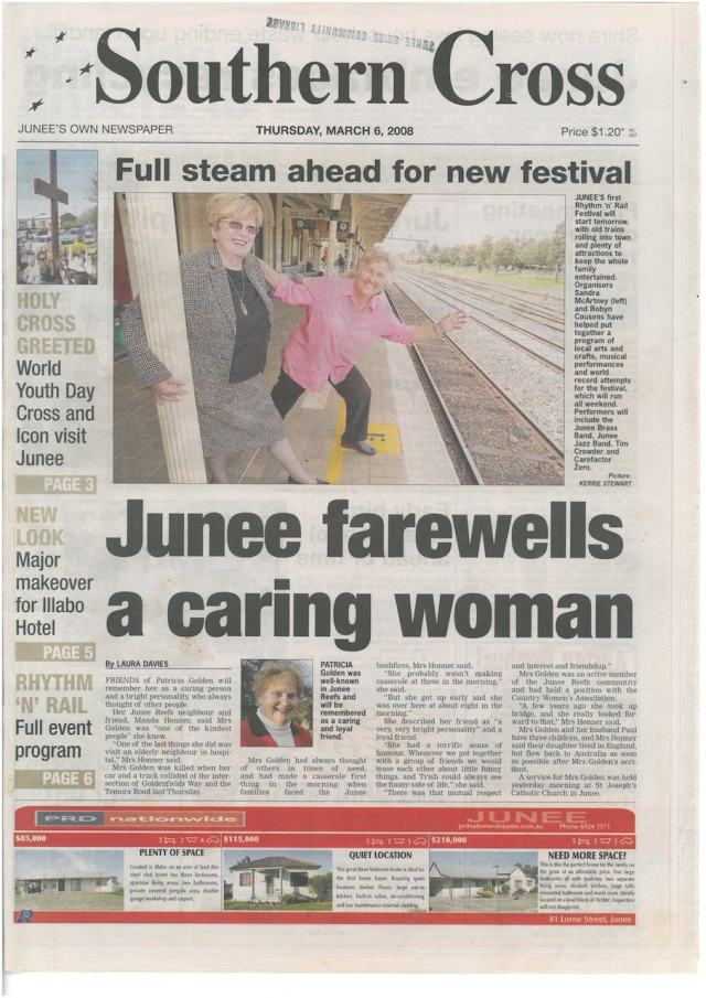 Full steam ahead for new festival - Front cover of Junee Southern Cross Thursday March 6, 2008
