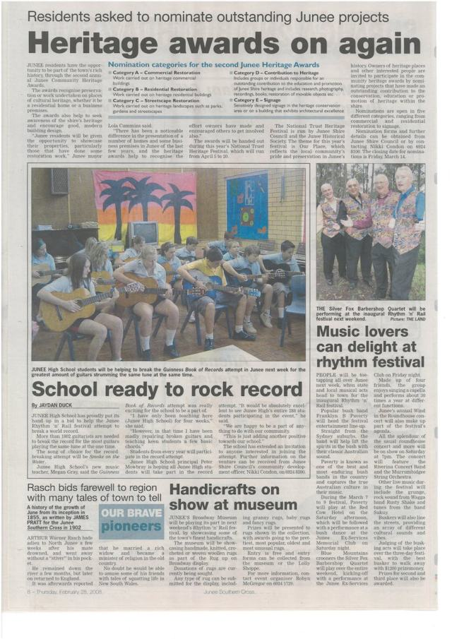 Two editorials promoting events and performers at 2008 Junee Rhythm n Rail Festival