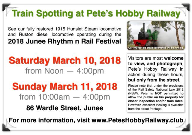 Train Spotting @ Pete's Hobby Railway during 2018 Rhythm n Rail Festival Flyer