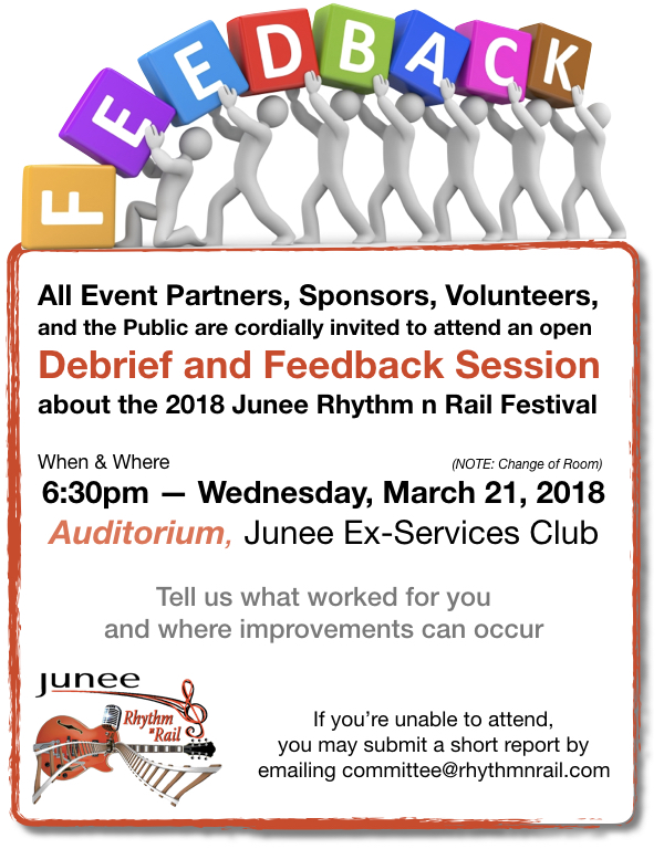 2018 Junee Rhythm n Rail Debrief and Feedback Session Invite v2