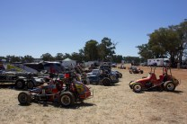 Midget Speedcars in the Pits with the ex WA Laurie Mathew's car #5 in the foreground at Illabo Motorsports Park