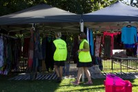 A couple of our volunteers checking out one of the many clothes stalls
