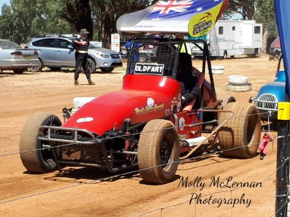 Roscoe O'Brien, all the way from Kiama, ready on the grid for another run at Illabo Motorsports Park