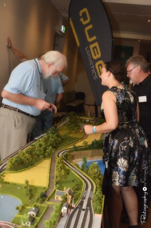 Natalie Phillips viewing the Model Train Layout [2015 Rhythm n Rail]