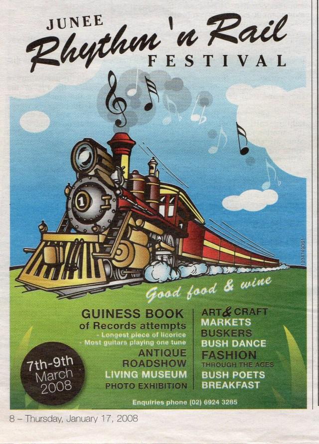2008 Junee Rhythm 'n Rail Festival Advertisement