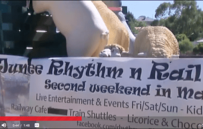 Junee Rhythm n Rail Banner at the Junee Licorice and Chocolate Factory