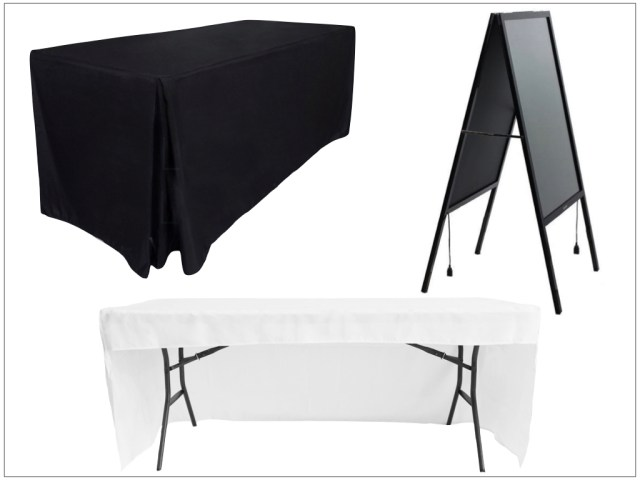 Examples of the Table Cloths and Display Boards