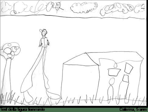Caterina, 5 anni, disegna una figura femminile