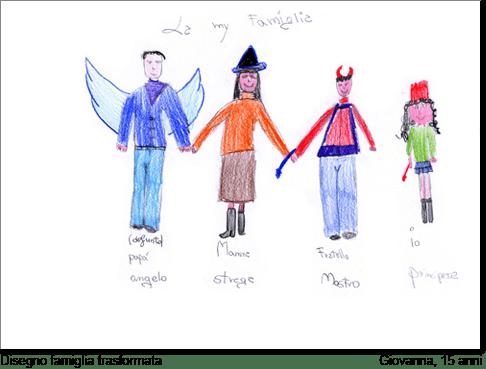 Giovanna, 15 anni, disegna la sua famiglia trasformandola
