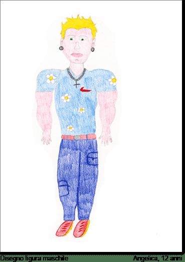 La stessa Angela nel disegnare un personaggio maschile raffigura l'uomo ideale che vorrebbe avere (così dice mentre disegna). Anche in questo disegno si cimenta nel dotare il personaggio in particolari, colori ed espressioni e tramite esso esprime tutto il fascino sessuale tipico della sua età.