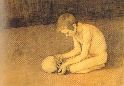 L'opera di Magnus Enckell dal titolo 'Ragazzino davanti a un teschio', del 1893.