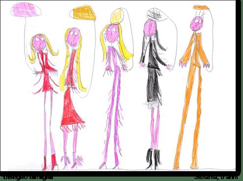 Stefania, 8 anni, disegna la sua famiglia.