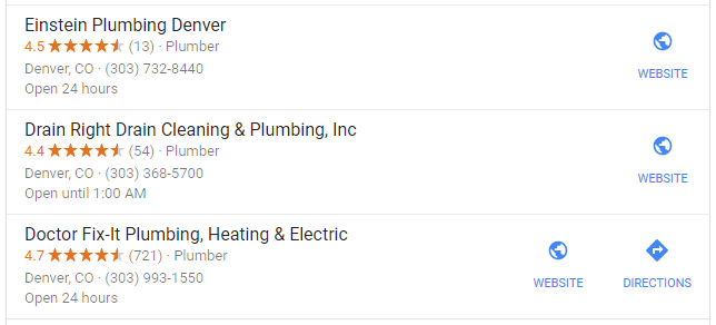 Google 3 Pack Denver Plumbers