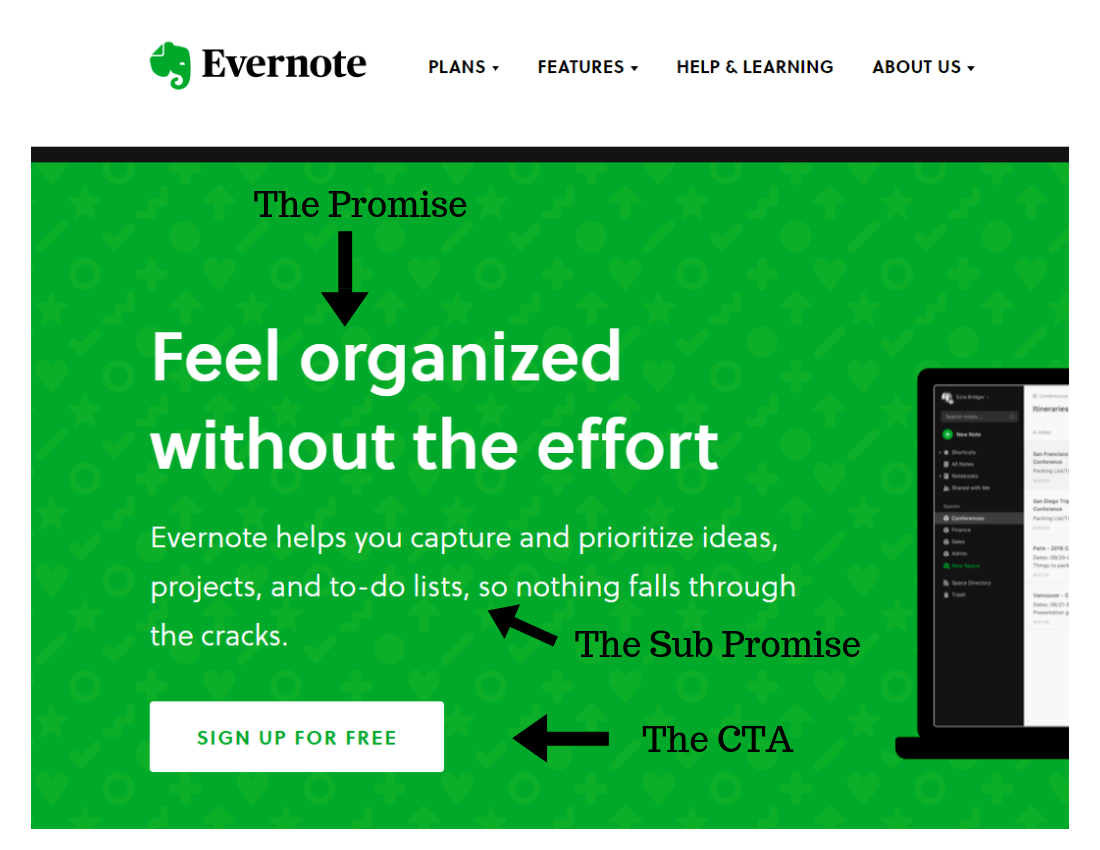 Evernote Website Example